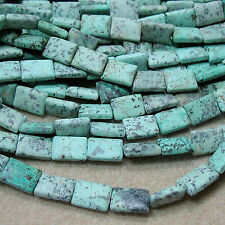 """Matte African Turquoise 10x14mm Puffy Rectangle Beads 16"""" Green & Black"""