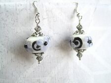 *CHUNKY WHITE LILAC Black Swirl FLOWER LAMPWORK GLASS BEAD* SP Drop Earrings