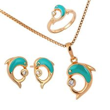 Kids 18K Gold Filled Blue Dolphin Earrings Ring Pendant Necklace Jewelry Sets