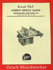"Atlas 8"" Tilt Arbor Bench Saw 3020, 3030, 3040 Instruction & Parts Manual 0029"