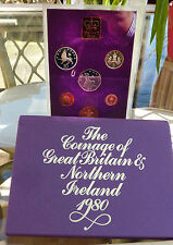 1980 Royal Mint Proof Unc UK Coin Year Set