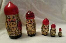 Vintage Russian Nesting Dolls authentic Matryoshka Set 5 Unique pointy top Men