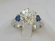 QVC-Diamonique and Simulated Sapphire Epiphany 3 Stone Ring Size 6