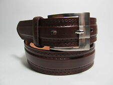 "Men Silver Buckle Brown leather belt 50"" #5063B"