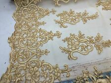 Gold Flowers Embroider On A Mesh Lace. Sold By The Yard.bridal Lace.