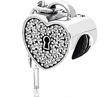 SALE - Lock of Love Heart & Key Genuine Silver 925 Valentine's Charm +Gift Pouch
