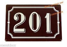 Plaque émaillée bordeaux blanc NUMERO de RUE 201 émail enamel plat street number