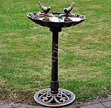Bronze Effect Bird Bath Table Garden Feeder Food Station Outdoor Free Stand
