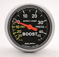 "Auto Meter 3308 Sport-Comp Mechanical 2-1/16"" Boost / Vacuum Gauge 45 Psi (52mm)"