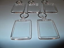 5 BLANK PLASTIC KEYRINGS  45mm x 35mm put your own picture in very easy to make)