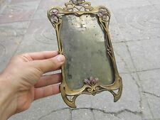 Antique Art Nouveau Wall Bronzed Spelter &Painted Picture/Photo/Frame 9.3""