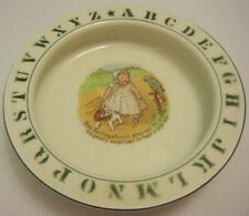 Old German ABC Alphabet Dish Baby Bunting & Dog / Parrot by McNicol Liverpool OH