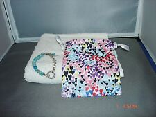 """BRIGHTON ART& SOUL """"LAUGH"""" BLUE BEADED SILVER PLATED  BRACELET WITH POUCH NWT"""