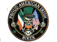LOT OF 2 - PROUD AMERICAN IRISH EMBROIDERED IRON ON BIKER PATCH