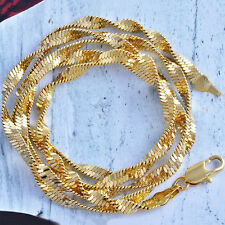 Fashion Jewelry Charm Womens 14K Yellow Gold Filled Twisted Flat Chain necklace