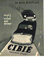PUBLICITE ADVERTISING  1960   CIBIE   phares anti-brouillards