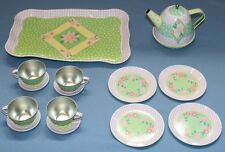 Schylling Metal Toy Tea Set Childrens Plates Cups Tray Teapot Pastel Polka Dots
