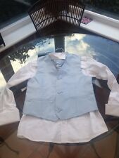 Boys Wedding Page Boy Shirt Waistcoat & Cravat Age 8 Monsoon Pale Blue And White