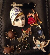 Vintage FIGURAL Rhinestone Enamel Insect Jelly Belly Pin Brooch Lot 10 Pc