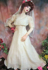 ANTIQUE Victorian Edwardian WEDDING gown DRESS open-work LACE Batiste PIN TUCKS