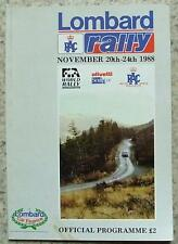 LOMBARD RAC RALLY Official Programme 20-24 Nov 1988 WORLD RALLY CHAMPIONSHIP