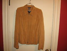 Mark Eisen Women's suede light brown Leather Jacket-size 16/18-no fur-solid