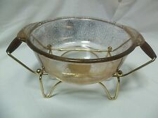 Retro 1950's Anchor Hocking Serving Dish w/ Candle Warmer & Walnut Handles