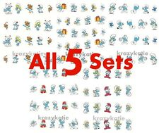 5 sets Smurf Water Slide Transfer Nail Sticker Decals Set E