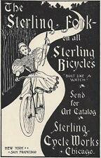 1896 Ad Sterling Cycle Works Victorian Lady on Bicycle Holding Sterling Fork