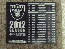 2012 Oakland Raiders (NFL) Bud Light team issued magnet schedule