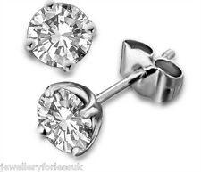 18Carat White Gold Diamond Solitaire Ear Studs 4-Claw 1.00 carats ESI2 Certified