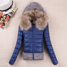 2016 Winter jacket Women Down Cotton Short Slim Fur Collar Hooded Coat Outwear