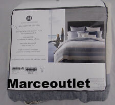 HOTEL COLLECTION Linen Stripe Collection FULL / QUEEN Duvet Cover & Shams Indigo
