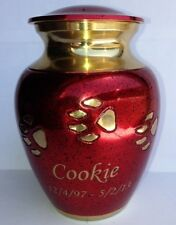 "GORGEOUS RED & GOLD BRASS PAW PRINT PET CREMATION URN, 7""-80 POUNDS"