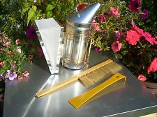 Large stainless steel smoker hive tool, and bee brush