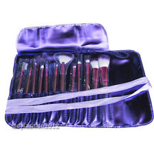 12PCS Brand purple make up kit makeup brushes makeup brush set with roll up bag