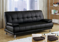 Modern Cozy Black Bycast Leather Removable Armrests Futon Sofa Bed Sleeper Couch