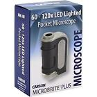 Carson MicroBrite Plus 60x-120x Power LED Lighted Pocket Microscope (MM-300) New