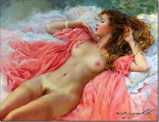 Hand-painted Portrait Art Oil Painting on Canvas Sexy Nude Woman #001 24x36inch