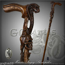 AUTHORS COBRA & HUMAN SKULL HANDCARVED CRAFTED SOLID WOOD WALKING STICK CANE D