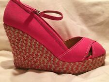 CLEARANCE SIZE 7  FUCHSIA WEDGE SHOES HOT PINK CANVAS ROPE HEEL ESPADRILLES