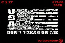 """DONT TREAD ON ME  AMERICAN FLAG VINYL DECAL-6"""" X 12""""- CHOOSE YOUR COLOR!"""