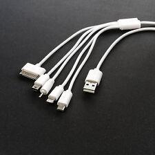 USB Ladekabel universal 5 in 1 USB Stecker auf 5x Ladestecker micro mini weiß 1m