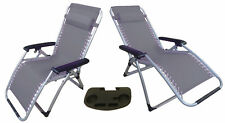 2 x ZERO GRAVITY GREY TEXTILENE DELUXE RECLINER CHAIRS + ONE (1) CLIP ON TABLE