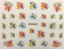 Nail Art 3D Decal Stickers Watercolored Flowers Multicolored E344