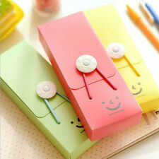 1 PC Cute Practical Smile Hasp Elastic Band Pencil Case Stationery Random CA