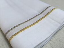 "20"" Inch Square White Gold Silver Embroidery Linen Cloth Dinner Napkin Set Of 12"