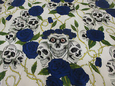 "White & Blue Skulls and Roses Printed 100% Cotton Fabric. 54"" Wide."