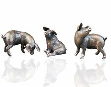 Three Little Pigs Bronze Sculptures - Limited Edition. Michael Simpson. Piglets.
