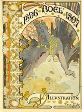ALFONS MUCHA L'ILLUSTRATION NOEL 1896/97 ORIGINAL VINTAGE FRENCH POSTER